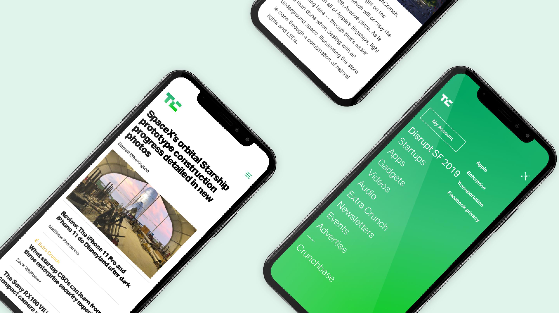 TechCrunch mobile screens